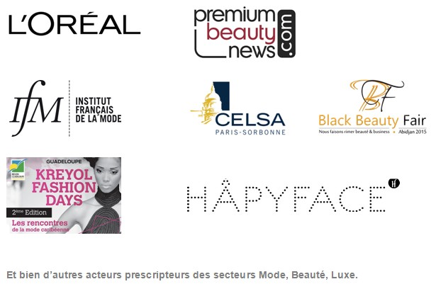 Logos L'Oreal, Premium Beauty News, Institut Francais de la Mode, Celsa Paris Sorbonne, Kreyol Fashion Days, Black Beauty Fair, Hapyface